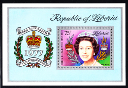 Liberia MH 1977 #C218 Souvenir Sheet 75c Queen Elizabeth II Silver Jubilee - Liberia