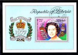 Liberia Used 1977 #C218 Souvenir Sheet 75c Queen Elizabeth II Silver Jubilee - Liberia