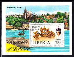 Liberia Used 1978 #C221 Souvenir Sheet 75c Coronation Coach - Liberia