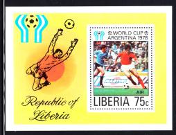 Liberia MNH 1978 #C222 Souvenir Sheet 75c World Cup Argentina 1978 - Liberia