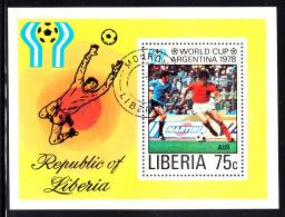 Liberia Used 1978 #C222 Souvenir Sheet 75c World Cup Argentina 1978 - Liberia