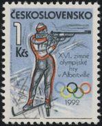 Czechoslovakia / Stamps (1992) 3001: Winter Olympic Games 1992 Albertville (biathlonist); Painter: Robert Jankovic