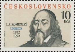 Czechoslovakia / Stamps (1992) 3002: 400th Birth Anniversary John Amos Comenius (1592-1670) UNESCO; Painter Karel Benes