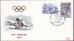 BELGIUM - BELGIQUE - OLYMPIC LA - JUDO - SAILING - FDC - 1984