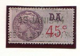 FRANCE- Timbre Fiscal Y&T N°182 (type I) De 1936-42- Oblitéré - Fiscaux