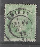 Empire N° 20 , 5 C Vert Jaune Obl Cachet Central De AMIENS, Somme Du 19 Avril 1872  , B/TB Quasi TTB - 1862 Napoleon III