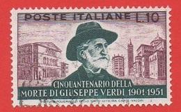 1951 (677) Giuseppe Verdi Lire 60 - Leggi Il Messaggio Del Venditore - 1946-60: Afgestempeld