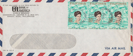 1970s Air Mail PHILIPPINES BANK Of AMERICA COVER Franked  3x 50s  IMELDA MARCOS Stamps Banking Finance - Philippines