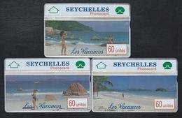 SEYCHELLES SEY07-8-9 3 Cards 60u Holidays Vacances 002A Mint Rare L&G