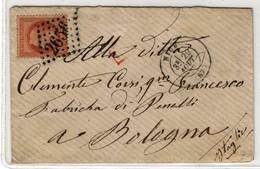 France Yv. 31 Obl GC 2656 Nice Sur Lettre Destination Bologne (Italie) (numéro Du Lot B23T) - Postmark Collection (Covers)