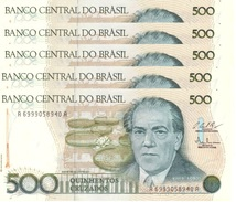 BRAZIL 500 CRUZADOS ND (1987) P-212 UNC 5 PCS [BR834c] - Brazil