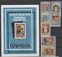 Grenada 883-89 + Block 83 – Christmas 1979 – Religious Tapestries  ** MNH - Grenade (1974-...)
