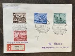 B19 Deutsches Reich Germany Allemagne 1940 R-Brief Mit Sst. Von Leipzig Städt. Kaufhaus Messe - Germania