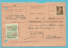 "427 Op Ontvangkaart (Carte-recepisse) Niet Afgestempeld, Met Firmaperforatie (perfin) ""GDF"" Grand Distillerie Belge - 1934-51"