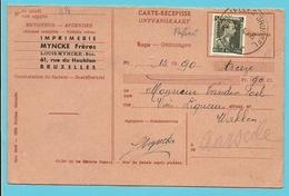 "480 Op Ontvangkaart (Carte-recepisse) Met Stempel BRUXELLES, Met Firmaperforatie (perfin) ""MF"" Imprimerie MYNCKE - 1934-51"