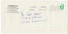 FRANCIA - France - 2013 - Lettre Verte 20g Marianne De Beaujard - Viaggiata Da 38830A Per Breuillet, France