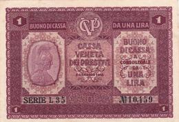 1 Lira Occupazione Austriaca, Cassa Veneta Dei Prestiti. 1918 Integra - Italien