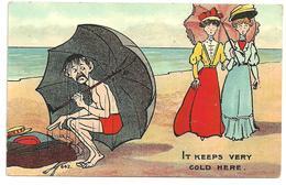 CPA  Illustrateur Non Signé , Humour Anglais, à La Plage Couple élégantes Ombrelle, Parapluie N°642 - Humor