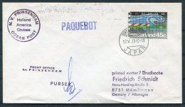 1972 Netherlands Ship Cover. M.V. PRINSENDAM Ocean Post. Yokohama Japan Paquebot - Covers & Documents