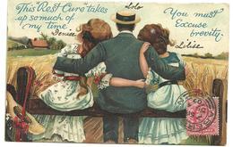 """CPA 1907  Illustrateur Non Signé , Humour Anglais, Scène Champêtre Un Homme Enlaçant 2 Femmes, Series Ri"""" A18 - Humor"""