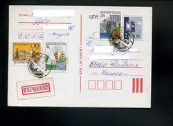 Marcophilie,entiers Postaux Hongrie,carte Postale,levelezölap En Expres,etiquette Expressz,fleur,statut,boite Aux Lettre