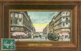 59 Lille, Rue Faidherbe, Tramway..., Carte Colorisée Avec Encadrement Façon Bois, Affranchie 1909 - Lille