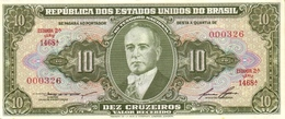 BRAZIL 10 CRUZEIROS ND (1958) P-159d UNC SIGN. LEMOS & LOPES [BR159d] - Brazilië