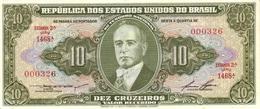 BRAZIL 10 CRUZEIROS ND (1958) P-159d UNC SIGN. LEMOS & LOPES [BR159d] - Brazil
