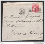 """REGNO:  1918  CROCE  ROSSA  -  10+5 C. ROSA  IN  TARIFFA  SU  FRONTESPIZIO  PER  """" ZONA  DI  GUERRA """" - 1900-44 Vittorio Emanuele III"""