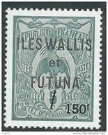 Wallis Et Futuna N° 649 XX  Reprise Des Premiers Timbtres 150.F. Vert Sans Charnière TB
