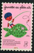 France Grande Vignette Antituberculeux 1971 Jeunesse Au Plein Air Windshield Label Greens 195.w2  3 3/4 X 5 1/2 - Commemorative Labels