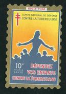 France Grande Vignette Antituberculeux 1960 10NF Windshield Label Greens 43.w3  3 1/4 X 4 1/2 - Commemorative Labels
