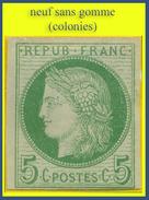 COLONIES N° 17 / N° 53 DE FRANCE CÉRÈS IIIe RÉPUBLIQUE 1872 - NEUF SANS GOMME (LÉGÈREMENT AMINCI) - - Ceres