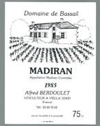 étiquette Vin  Domine De Bassail 1985 Alfred Berdoulet à Viella 32  Gers - Madiran