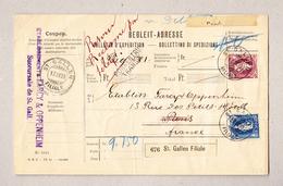Schweiz Stehende 50Rp U 1Fr St Gallen 17.4.1899 Auf Begleit-Adresse Nach Paris Mit Stempel Porrentruy Transit - 1882-1906 Armoiries, Helvetia Debout & UPU