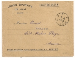 * P.P. * HAM Somme Sur Enveloppe Imprimés, UNION SPORTIVE. 1927. - Cachets Manuels
