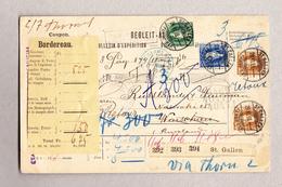 Schweiz Stehende 25 U 50Rp Mit 3Fr (2) St Gallen 29.6.1899 Auf Begleit-Adresse Nach Warschau - 1882-1906 Armoiries, Helvetia Debout & UPU