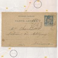 Boite Rurale C MAZERNY + POIX TERRON Ardennes Sur Entier SAGE. 1897. - 1877-1920: Semi-Moderne