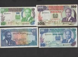 Kenya - Lot De 4 Billets ( 10 - 20 X2 Et 100 Shillings  )    World N°13 20 21 23  Bon état - Kenya