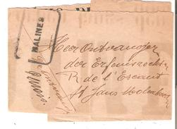 GRIFFE Encadrée MALINES(Chemins De Fer) S/Bande Journal Vers Molenbeek En 1918/19 - Postmark Collection
