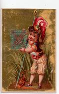 Chromos.Au Bon Marché.petite Fille En Tenue Traditionnelle Avec Drapeau Ottoman Et Timbre.carte De 11 Cm X 7,4 Cm - Au Bon Marché