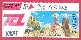 Ticket TCL Lyon Visuel La Part Dieu 1992 - Europe
