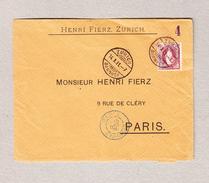 Schweiz Stehende 1Fr Einzelfrankatur Zürich 14.10.1891 Brief Nach Paris (Zähnung 1a) - 1882-1906 Armoiries, Helvetia Debout & UPU