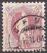 14 Vertikalzähne KZ I 1882: Zu 71A Mi 63XA Yv 79 - 1 Fr. Lila Mit O CHUR 16.II.84 (Zu CHF 9.00) - 1882-1906 Armoiries, Helvetia Debout & UPU