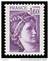 France N° 2060 D ** Sabine De Gandon  - Le 1.60 Fr Violet -  Variété Gomme Hollandaise - Francia