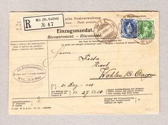 Schweiz Stehende 25Rp Tellknabe 5Rp Wil 31.12.1908 R-Einzugsmandat Nach Wohlen - 1882-1906 Armoiries, Helvetia Debout & UPU