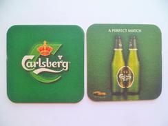1 X Singapore Beer Mat Coaster - Carlsberg Beer A Perfect Match (#19) - Beer Mats