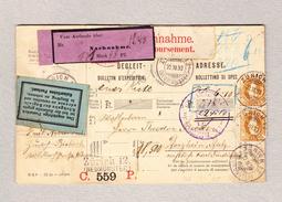 """Schweiz Stehende 3Fr (2) Und ? Zürich 22.11.1893 Paketkarte Nach Pforzheim Mit Kleber """"Nachnahme"""" Violet - 1882-1906 Armoiries, Helvetia Debout & UPU"""