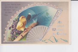 CP De 1912 : All Good Wishes For Easter : Eventail En Léger Relief Et Argenté + Poussiny - Pasen