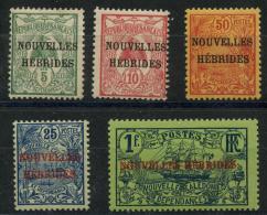 Nouvelle Hebrides (1908) N 1 AÌ€ 5 * (charniere) - Légende Française